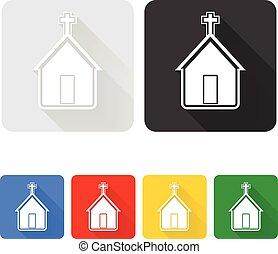 chiesa, set, icona