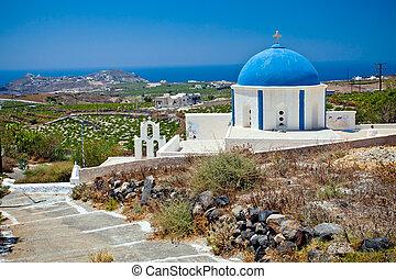 chiesa, su, isola santorini, grecia