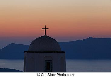 chiesa, su, santorini, a, tramonto