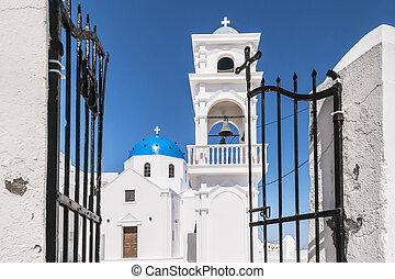 chiesa, su, santorini