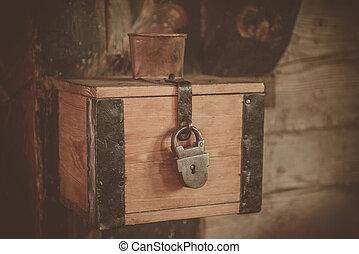 chiesa, trunk., donazioni, scatola, elemosina, soldi, o, collezione