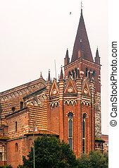 chiesa, verona, italia, s., fermo, iglesia