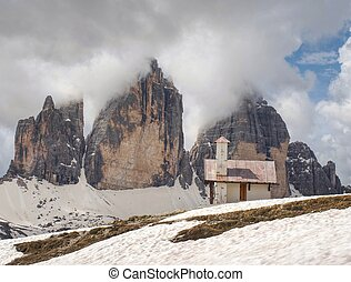 Chiesetta Alpina, Tre Cime trail. Small white chapel