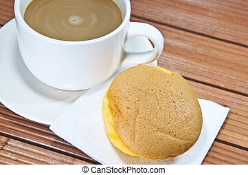 Chiffon cake with orange jam and coffee