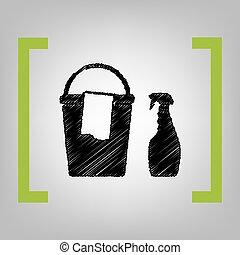 chiffon, citron, grayish, ménage, parenthèses, seau, bottles., chimique, arrière-plan., noir, vector., gribouiller, icône