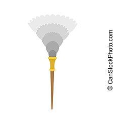 chiffon, isolated., bonne, nettoyage, accessory., poussière, plume