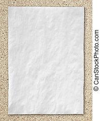 chiffonné, bouchon, comité papier, fond, blanc