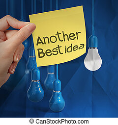 chiffonné, concept, autre, lumière, idée, note collante, papier, tenue, ampoule, main, créatif