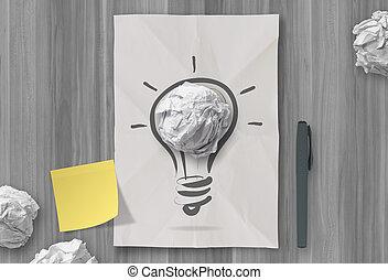 chiffonné, concept, lumière, idée, note collante, papier, autre, ampoule, créatif