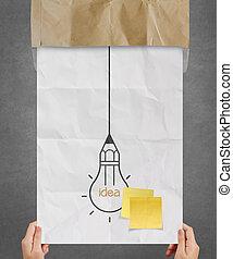chiffonné, concept, lumière, projection, idée, note collante, papier, autre, ampoule, main, créatif