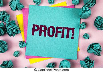 chiffonné, concept, revenu, texte, papier collant, gagné, profit, suivant, note, écrit, argent, call., it., business, motivation, signification, fond, paiement, salaire, balles, uni, écriture