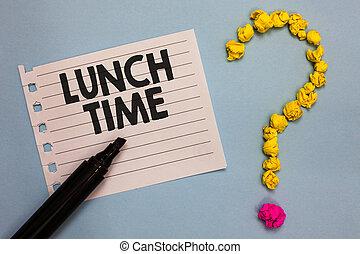 chiffonné, concept, texte, milieu, papier, marqueur, petit déjeuner, écriture, avant, point interrogation, arrière-plan., time., papiers, business, former, après, déjeuner, jour, mot, bois, dîner, repas