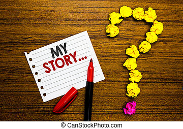 chiffonné, concept, texte, papier, marqueur, ton, story...., lecteurs, point interrogation, comment, papiers, vous, vie, lived, former, signification, arrière-plan., dire, sur, bois, quelqu'un, écriture, mon, ou