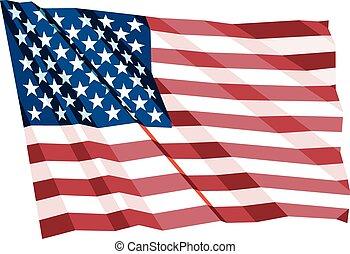 chiffonné, drapeau, nous