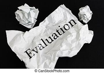 chiffonné, feuille, isolé, papier, noir, mot, évaluation