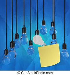chiffonné, noter papier, collant, autre, ampoule, lumière, idée
