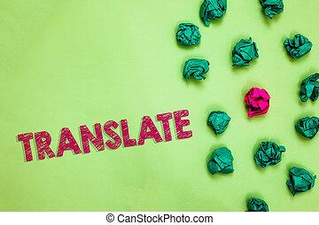 chiffonné, photo, une, autre, spécial, rose, différent, unique, même, arrière-plan., translate., texte, conceptuel, projection, équivalent, papiers, signification, signe, mot, cible, langue, vert, ridé