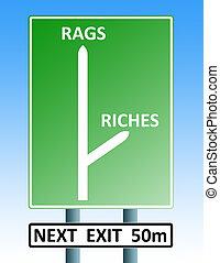 chiffons, richesses, roadsign