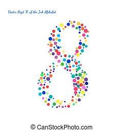 chiffre, blots, couleur, clair, vecteur, eclabousse, encre, 8