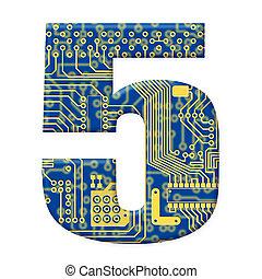 chiffre, circuit, électronique, alphabet, -, une, 5, planche, fond, blanc, technologie
