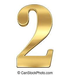 chiffre, figure, or, solide, alphabet, deux, isolé, 2, blanc