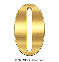 chiffre, figure, or, solide, alphabet, isolé, 0, zéro, blanc