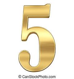 chiffre, figure, or, solide, alphabet, isolé, 5, cinq, blanc
