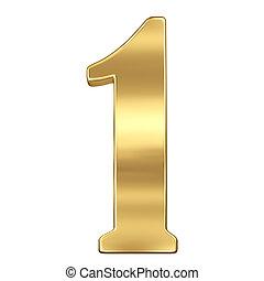 chiffre, figure, or, solide, alphabet, isolé, une, 1, blanc