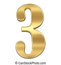 chiffre, figure, or, solide, alphabet, trois, isolé, 3, blanc