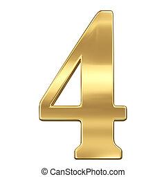chiffre, or, figure, solide, alphabet, isolé, quatre, 4, blanc