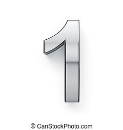 chiffre, render, -, 1, metalic, simbol, 3d