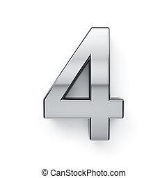 chiffre, render, -, quatre, metalic, 4, simbol, 3d