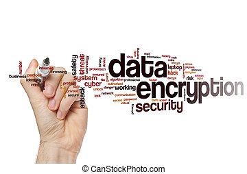 chiffrement, mot, données, nuage
