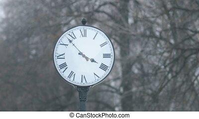 chiffres, cadran, rue, romain, horloge