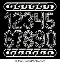 chiffres, chaîne, créé, set., moderne, nombres, vecteur, connecté, utilisation, link.
