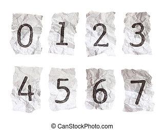 chiffres, chiffonné, 0-7, --, nombre, papier, tapé machine