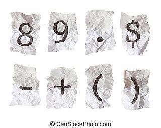 chiffres, chiffonné, tapé machine, symboles, papier, (8-9)