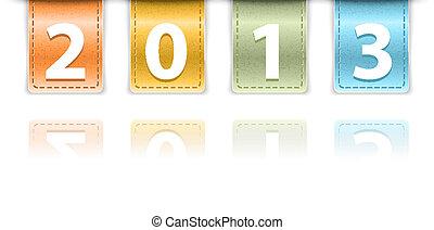 chiffres, coloré, cuir, encarts, fond, 2013