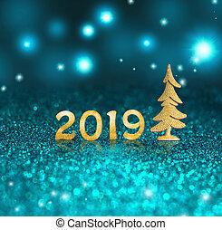 chiffres, ensemble, or, brillant, arrière-plan., 2018, année, noël., nouveau, scintillement