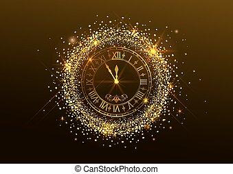 chiffres, horloge, minuit, year., romain, nouveau