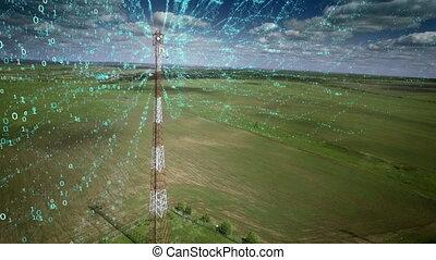 chiffres, information, concept, aérien, télécommunication, antenne, cellphone, communication, signal, prise vue., couler, voyante, relais, cellulaire, tower.