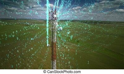 chiffres, information, gros plan, concept, aérien, télécommunication, antenne, cellphone, communication, signal, prise vue., couler, relais, cellulaire, tower.