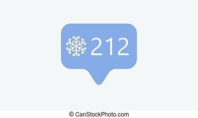 chiffres, métrage, moderne, flocon de neige, 4k, animation...