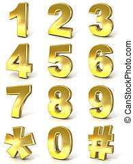 chiffres, numérique, collection, -, 0, 9