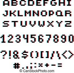 chiffres,  pixilated, ponctuation, lettres, pointillé,  9, morceau, moderne, créé,  0, nombres, vecteur, Police, marques,  8, géométrique, technologie,  Style,  numeration,  3D