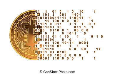 chiffres, séparément, tomber, informatique, bitcoin