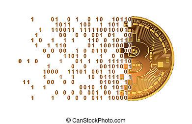 chiffres, tomber, informatique, bitcoin, séparément
