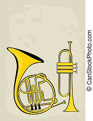 chifre, notas, trompete, francês