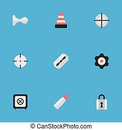 chifres, outro, vetorial, fechado, icons., synonyms, elementos, jogo, lâmina, gun., criminal, simples, abóbada, tiro, ilustração