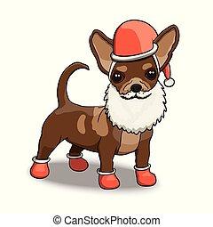 chihuahua, caractère, illustration, santa, année, nouveau, sourire, dessin animé